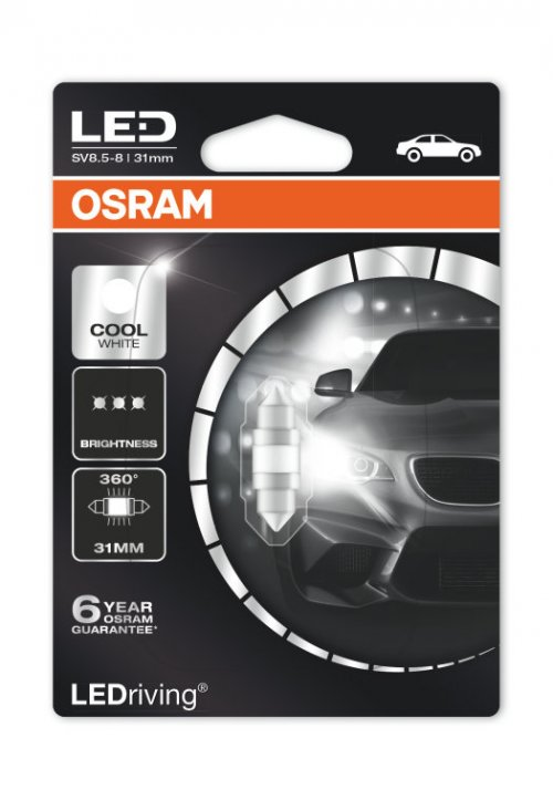 OSRAM LED C5W 6497CW-01B 6000K 12V 1W SV8,5-8 31mm