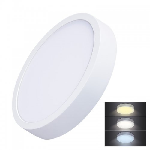Solight LED mini panel CCT, přisazený, 24W, 1800lm, 3000K, 4000K, 6000K, kulatý WD174