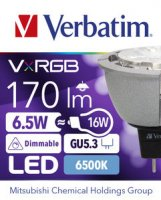 Verbatim LED, VxRGB NSeries MR16 GU5.3 6.5W 6500K CW 170LM 25 Degree DIM 52500