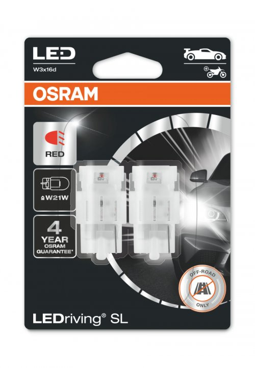 OSRAM LED W21W 7505DRP-02B RED 12V 1,4W W3x16d