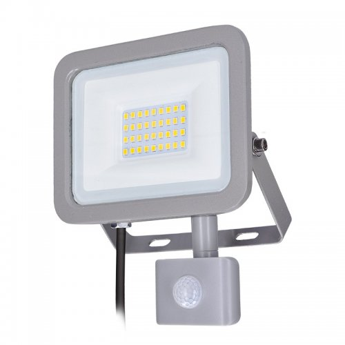 Solight LED reflektor Home se sensorem, 30W, 2250lm, 4000K, IP44, šedý WM-30WS-M