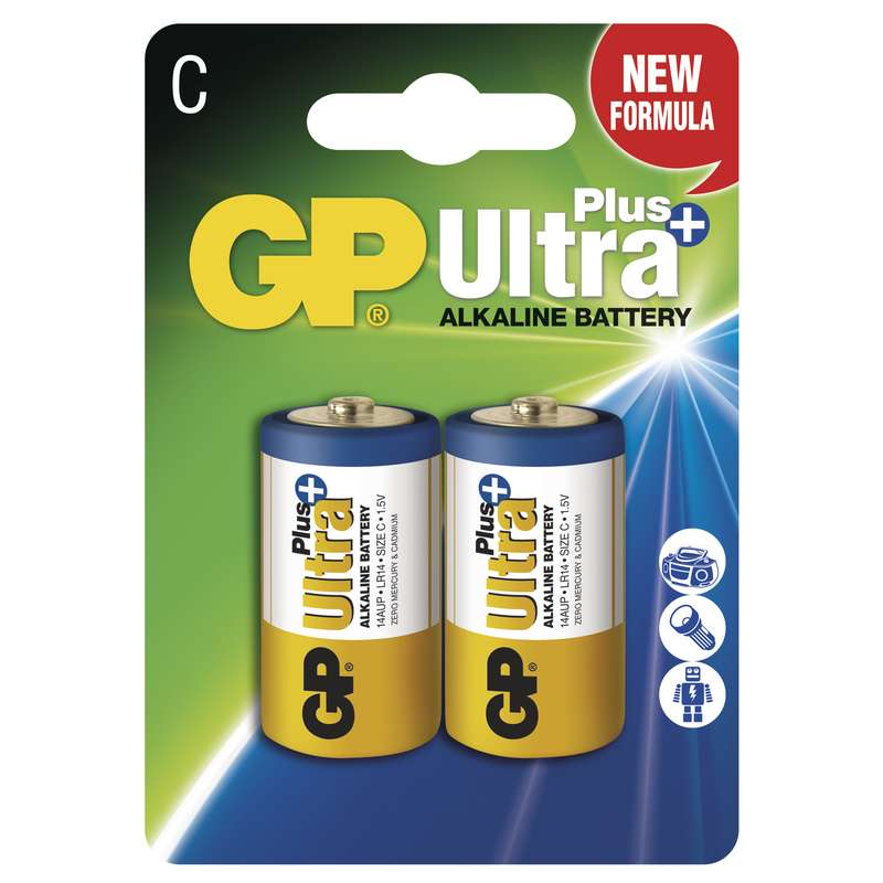 GP Alkalická baterie GP Ultra Plus LR14 (C), blistr 1017312000