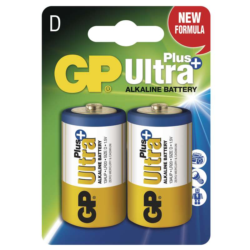 GP Alkalická baterie GP Ultra Plus LR20 (D), blistr 1017412000